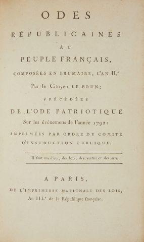 * LE BRUN. Odes républicaines au peuple français...