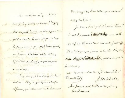 * Jules MICHELET (1798-1874). L.A.S., 22...