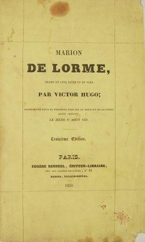 * HUGO (Victor). Marion de Lorme. Drame en cinq actes et en vers. Représenté pour...