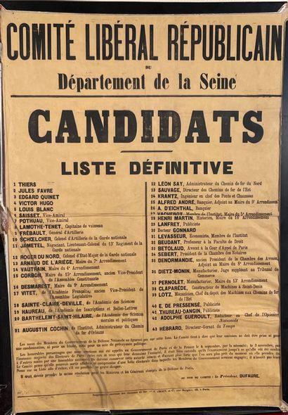 * Affiche du Comité Libéral Républicain du...