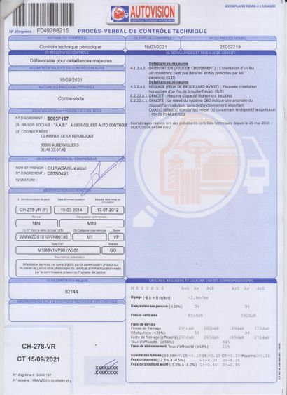 VP MINI COUNTRYMAN  Carburant : GO  Puissance Administrative : 6 CV  Kilomètres...