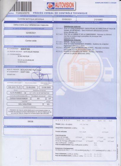 VP ALFA ROMEO 147 1.6 TS 120 5P CI de couleur Grise  Carburant : ES  Puissance Administrative...