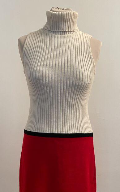 Robe tube en laine color block blanc griotte...