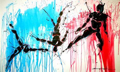 Rénald ZAPATA Technique mixte sur toile Signée 146 x 89 cm   Live painting réalisé...