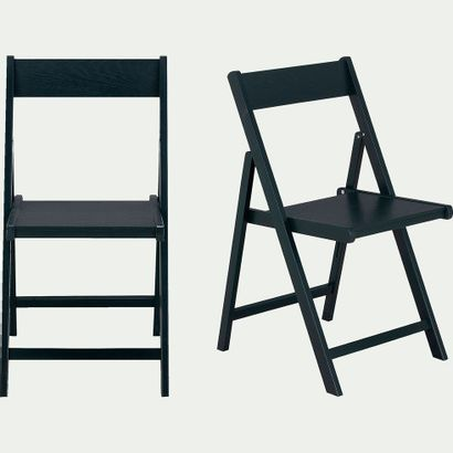 3 x Chaise pliante en bois plaqué noir calabrun...