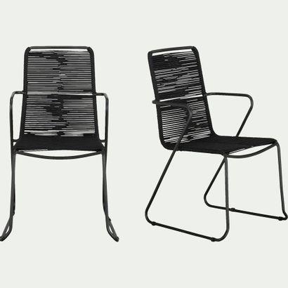 4 x Chaise de jardin en métal et corde avec...