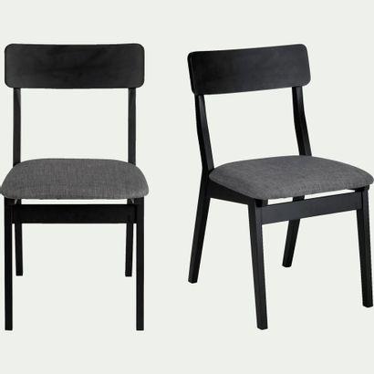 4 x Chaise TAMARIS noire en hévéa et tissu...
