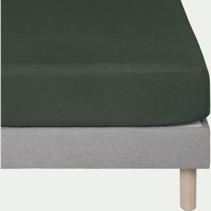 1 x Drap housse en lin VENCE Vert cèdre 140x200cm...