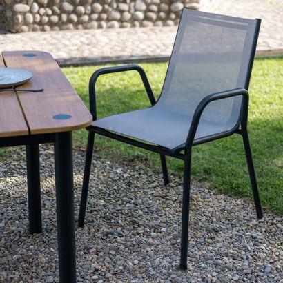 4 x Chaise de jardin avec accoudoirs en aluminium...