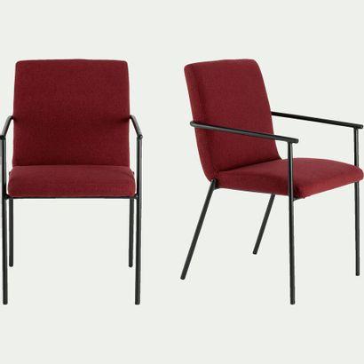 2 x Chaise en tissu avec accoudoirs - rouge...