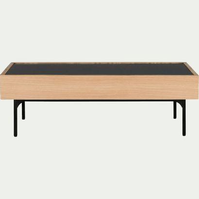 1 x Table basse rectangulaire en verre et placage chêne  L120cm H40cm 60cm  Prix...