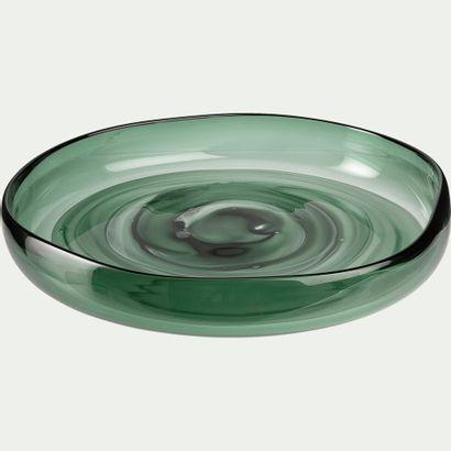 2 x Coupe en verre - vert  d30,5cm h5,5  Prix...