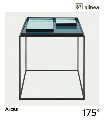 1 x Bout de canapé ARCAS carré en métal noir...