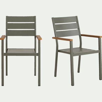 2 x Chaise de jardin avec accoudoirs empilable...
