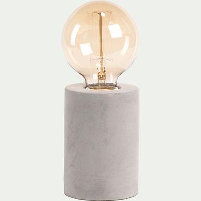 2 x Lampe à poser en béton gris H12,5xD9cm...