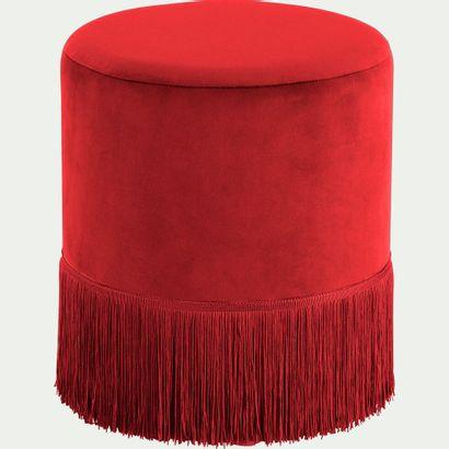 2 x Pouf en velours rond - rouge sumac  d35cm...