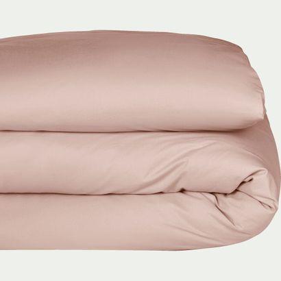 1 x Housse de couette FLORE en percale de coton Rose argile 240x220cm Alinéa  Tissage...