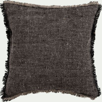3 x Coussin en lin chambray - noir 45x45cm...