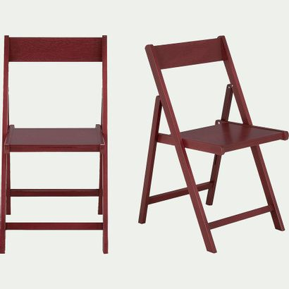 5 x Chaise pliante en bois - rouge sumac...