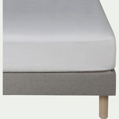 2 x Drap housse en lin - blanc capelan 160x200cm...
