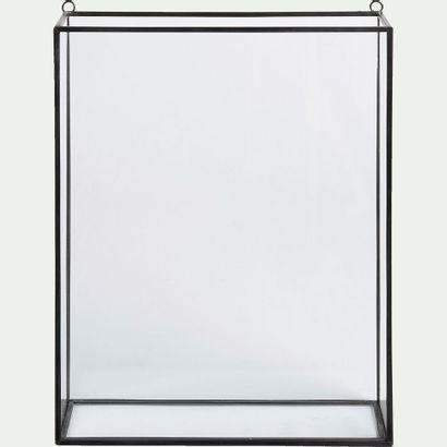 2 x Vitrine murale en verre et métal - noir...