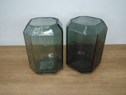 2 x Vase transparent gris H22cm D14cm  Prix...