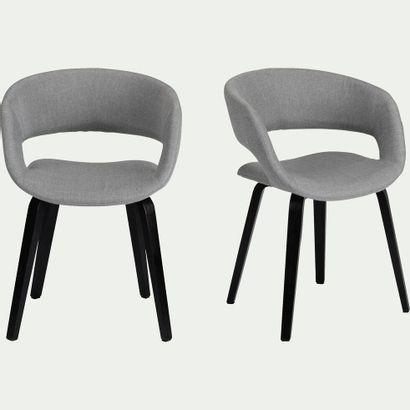 1 x Chaise en tissu JOYAU Gris borie et pieds...