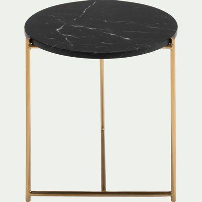 1 x Bout de canapé ANSE rond en marbre noir...