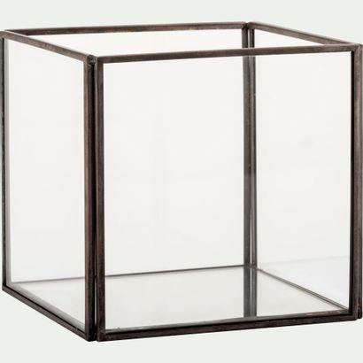 3 x Boîte décorative en verre et fer - noir l12xl12xh11cm  Prix public : 42 €  Frais...