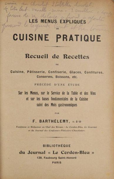 BARTHÉLÉMY (F.). Les menus expliqués de cuisine...