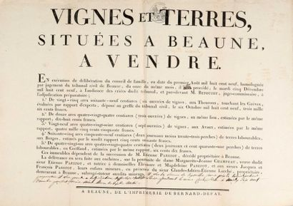 * [Manuscrit]. [Beaune]. Extrait d'adjudication...