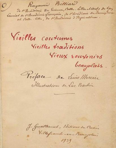 * [Manuscrit]. BILLIARD (Raymond). Vieilles...