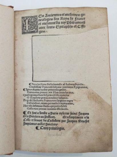 [Livre du XVIe siècle]. BOUCHET (Jean). Les anciennes et modernes genealogies des...