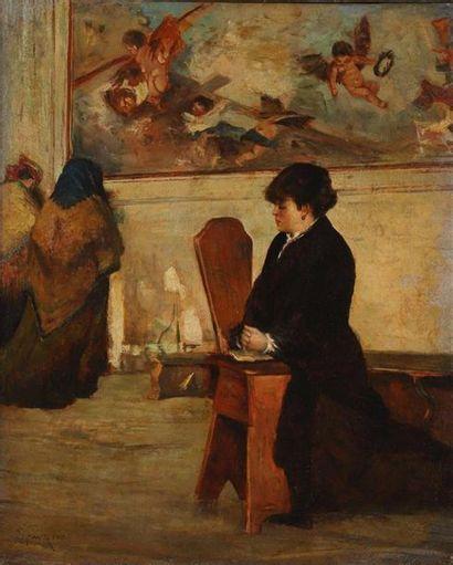 Giacomo FAVRETTO (Venise 1849-1887). Giacomo FAVRETTO (Venise 1849-1887). Femme en...