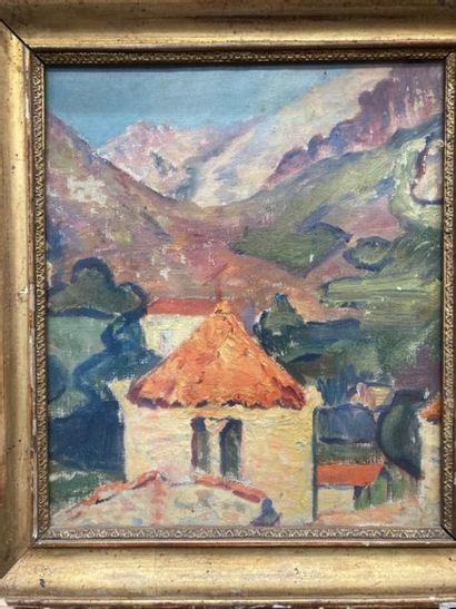 ECOLES MODERNES. Paysage de montagne ; Hameau....