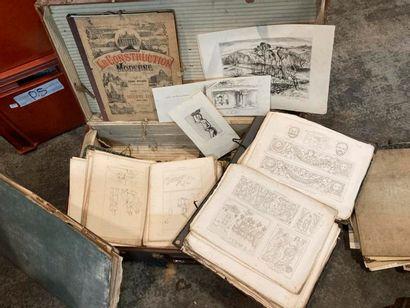 Dans une valise : LOT de gravures diverses...