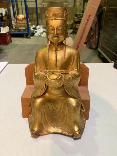 CHINE - XIXe siècle. Mandarin en bronze ciselé...