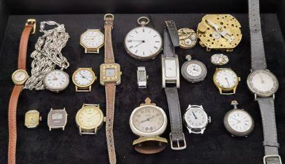 LOT de montres et pendulettes diverses, dont...