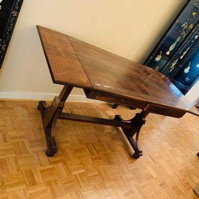 TABLE BUREAU rectangulaire à volet en plaquage...
