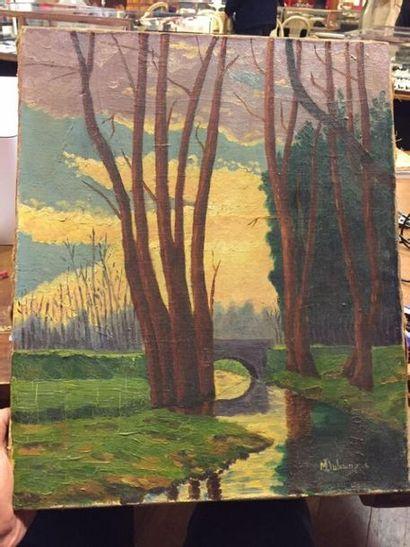 Maurice DUHAUPAS. Bord de fleuve. Huile sur toile signée en bas à droite. D. : 46...