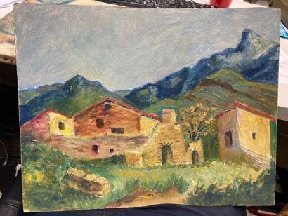 ECOLES MODERNES. Vue d'un hameau en montagne...