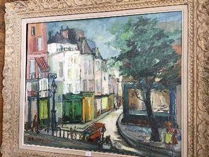 J.BLERET  Ruelle.  Acrylique sur toile signée...