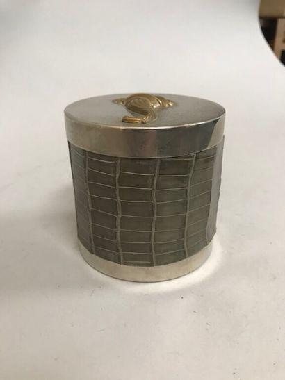 HERMES  Pot à tabac compartimenté en métal...