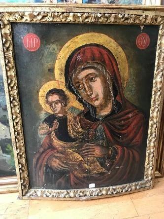 Ecole russe du XIXe siècle.  Vierge à l'enfant....