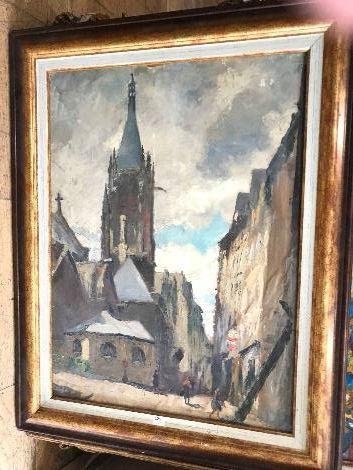 Amédée MUSELIER (1877-1949)  Vue d'une église....