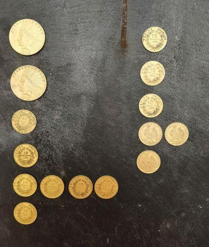 LOT de 15 pièces d' or 900 mm comprenant...