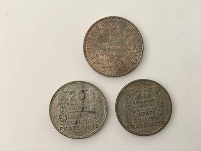 3 PIECES en ARGENT :  - 2 x 20F, 1933 et...