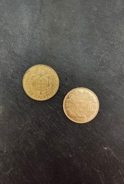 Lot de pièces d'or 900 mm comprenant  - 20...