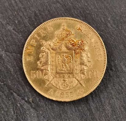 Pièce de 50 FF Napoléon III, A 1855, Barre,...