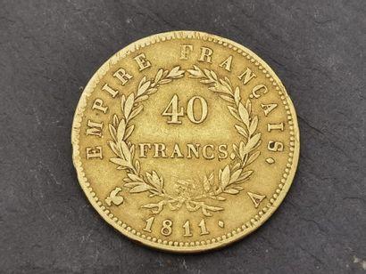Pièce en or 900 mm de 40 francs, Napoléon...